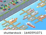 isometric boats yachts on pier... | Shutterstock .eps vector #1640591071
