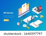 hr recruitment isometric flat... | Shutterstock .eps vector #1640597797