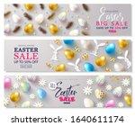 set of cards easter sale.... | Shutterstock .eps vector #1640611174