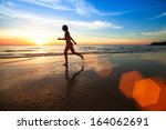 silhouette of a young woman... | Shutterstock . vector #164062691