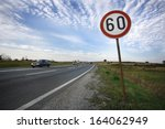 road sign speed limit sixty... | Shutterstock . vector #164062949