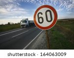 road sign speed limit sixty... | Shutterstock . vector #164063009