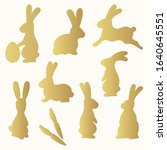 golden easter bunnies. running  ... | Shutterstock .eps vector #1640645551