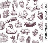 vegetables seamless pattern.... | Shutterstock .eps vector #1640658151