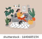 cute woman sitting with laptop... | Shutterstock .eps vector #1640685154