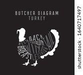 turkey butcher diagram. cut of...   Shutterstock . vector #1640717497