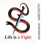 dagger kills a snake  defeated... | Shutterstock .eps vector #1640723737