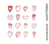 doodle hearts  hand drawn love... | Shutterstock .eps vector #1640759884