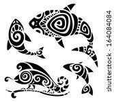 polynesian tattoo. tribal... | Shutterstock .eps vector #164084084