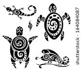 turtle. polynesian tattoo.... | Shutterstock .eps vector #164084087