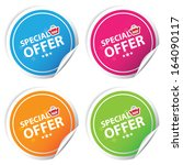 special offer colorful stickers ... | Shutterstock . vector #164090117