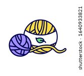 wool ball color line icon....