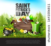 st. patrick's day card. spring... | Shutterstock .eps vector #1641006811