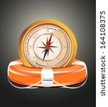 red lifebelt with compass | Shutterstock . vector #164108375