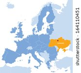 map of European Union and indication of Ukraine- concept of negotiation about association with EU