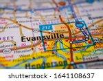 Evansville on USA map travel background