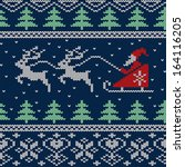 christmas and new year knitted... | Shutterstock .eps vector #164116205