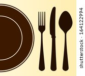plate and cutlery | Shutterstock .eps vector #164122994