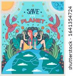 save our planet. girl and boy...   Shutterstock .eps vector #1641354724