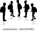 silhouettes of a children with... | Shutterstock . vector #1641397891