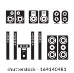 set of vector audio speaker...
