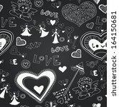 chalkboard seamless floral... | Shutterstock .eps vector #164150681