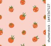 vector tomato seamless pattern. ... | Shutterstock .eps vector #1641567127