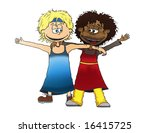 two girls of a different... | Shutterstock . vector #16415725