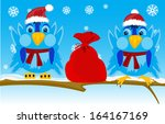 bag,bird,branch,cartoon,cristmas,gift,hat,holiday,illustration,natty,scarf,sits,sky,snow,snowflakes
