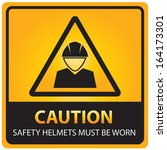 caution with safety helmets... | Shutterstock . vector #164173301