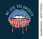 america lips flag we love you... | Shutterstock .eps vector #1641733321