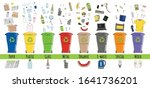 set of garbage cans with sorted ... | Shutterstock .eps vector #1641736201