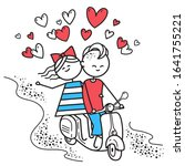 lovers boy and girl ride on gas ... | Shutterstock . vector #1641755221