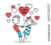 lovers boy and girl hold hands... | Shutterstock . vector #1641755227