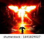 White Fiery Silhouette Of A...