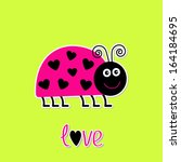 Cute Cartoon Pink Lady Bug Wit...