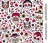 dia de los muertos seamless... | Shutterstock .eps vector #1641855631
