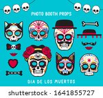 photo booth props for dia de... | Shutterstock .eps vector #1641855727