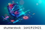 laptop with code on screen... | Shutterstock .eps vector #1641915421