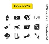 musical icons set with bass...