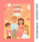pregnant woman in happy loving... | Shutterstock .eps vector #1642017247