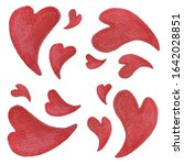 watercolor hearts seamless...   Shutterstock . vector #1642028851