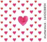 watercolor hearts seamless...   Shutterstock . vector #1642028854