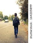 schoolboy walk alone   Shutterstock . vector #164205899
