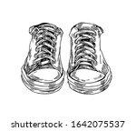 pair of sneakers in line art... | Shutterstock .eps vector #1642075537