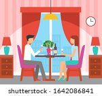 couple sitting by table in... | Shutterstock . vector #1642086841