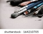 Artist's Old Brushes Close Up