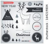 christmas hipster decoration... | Shutterstock .eps vector #164219804
