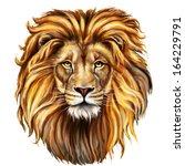 Stock photo lion head digital painting lion head in front 164229791