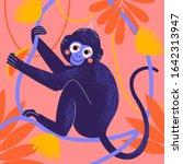 cute cartoon monkey in tropical ... | Shutterstock .eps vector #1642313947